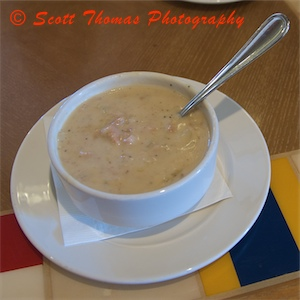 New England Chowder served in the Captain's Grill in Disney's Yacht Club resort, Walt Disney World, Orlando, Florida