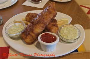 Fish and Chips served in the Captain's Grill in Disney's Yacht Club resort, Walt Disney World, Orlando, Florida