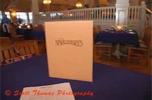 Narcoossee's Menu and Dining Area.