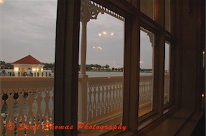 View of the Magic Kingdom from a table at the Grand Floridian's Narcoossee's restaurant.