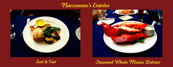 Narcoossee's entrees of Surf and Turf and Steamed Whole Main Lobster